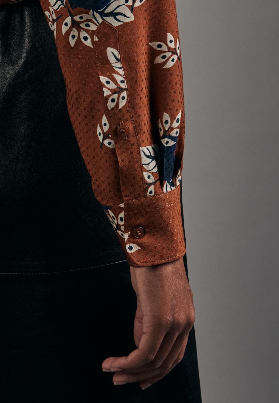 Jacquard Shirt Blouse made of 100% Viscose in Orange |  Seidensticker Onlineshop