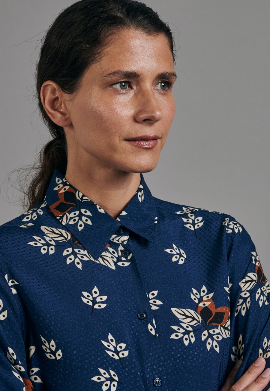 Jacquard Shirt Blouse made of 100% Viscose in Medium blue |  Seidensticker Onlineshop