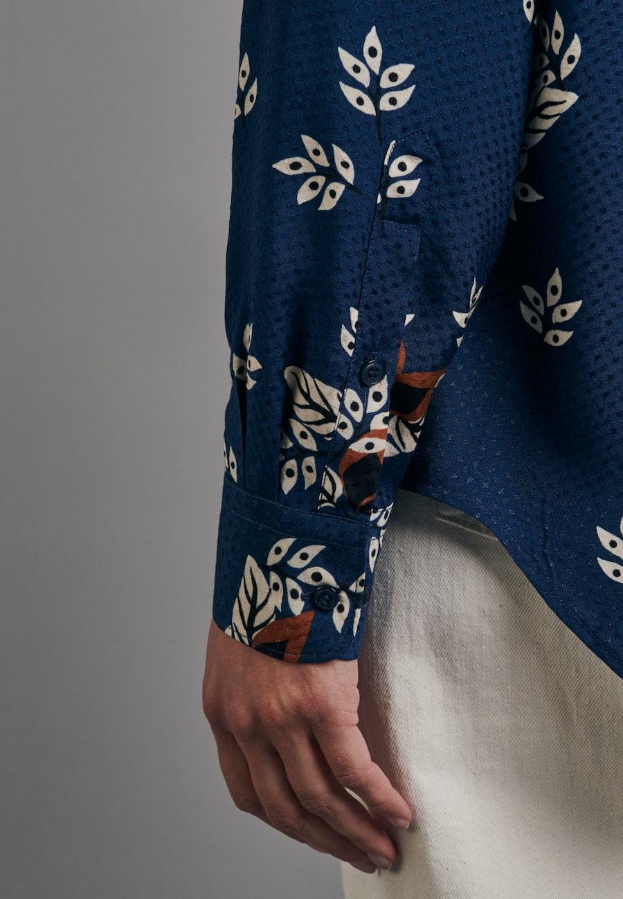 Jacquard Shirt Blouse made of 100% Viscose in Medium blue    Seidensticker Onlineshop