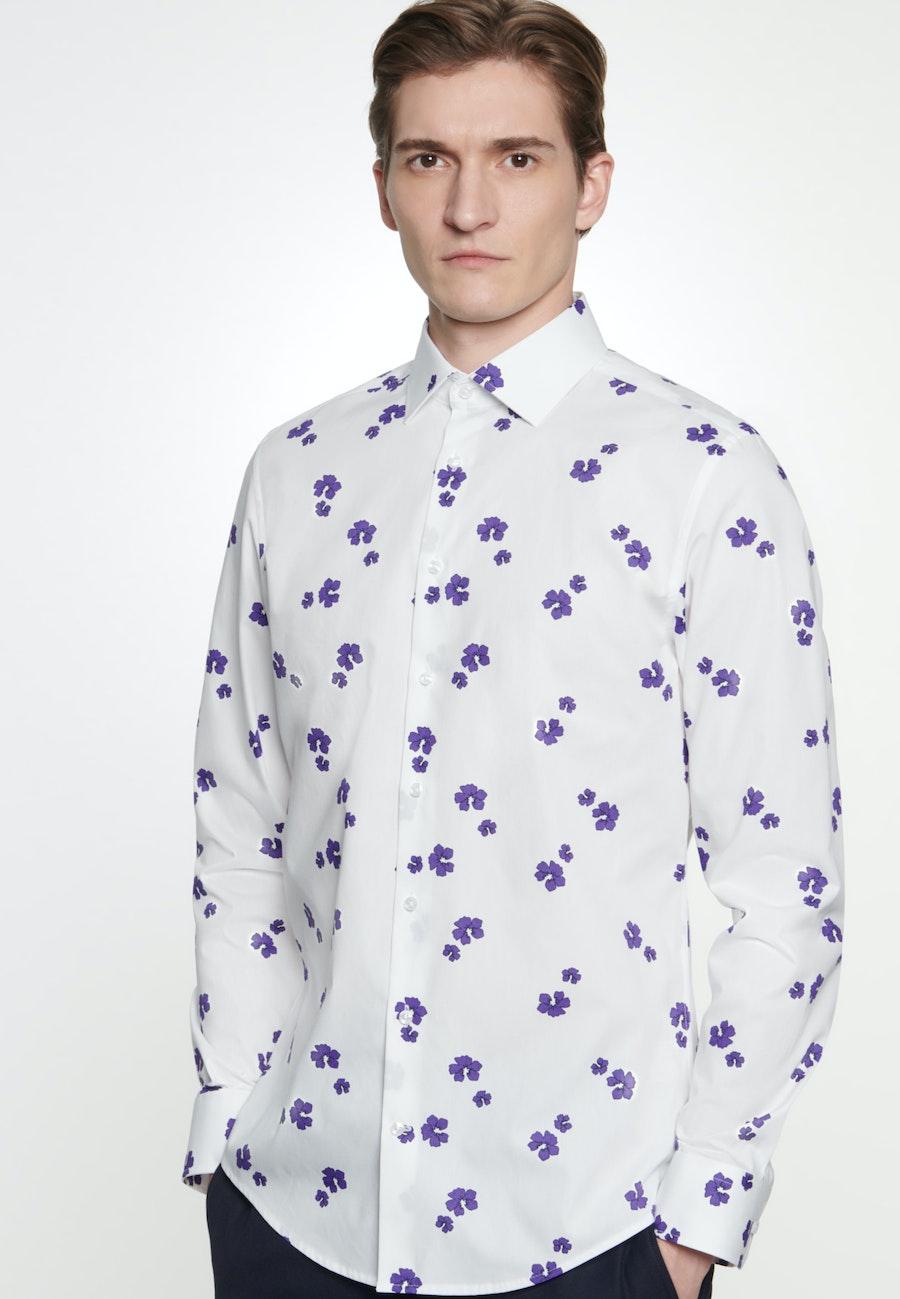 Bügelleichtes Popeline Business Hemd in Shaped mit Kentkragen in Weiß    Seidensticker Onlineshop