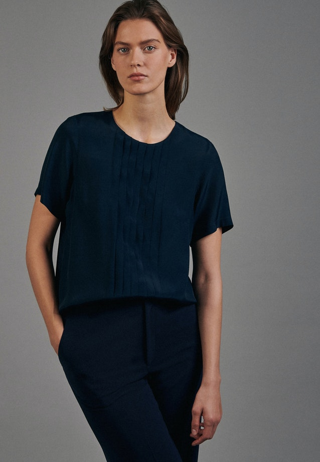 Short sleeve Voile Shirt Blouse made of 100% Viscose in Dark blue |  Seidensticker Onlineshop
