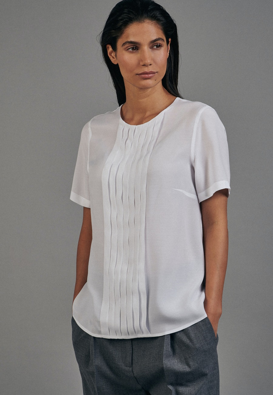 Kurzarm Voile Shirtbluse aus 100% Viskose in Weiß    Seidensticker Onlineshop