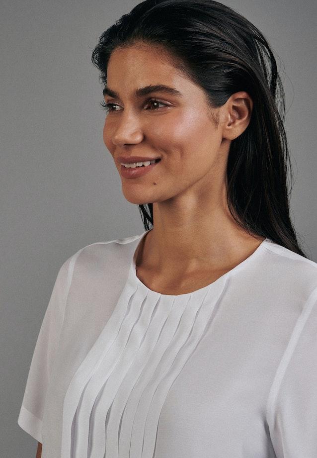 Kurzarm Voile Shirtbluse aus 100% Viskose in Weiß |  Seidensticker Onlineshop