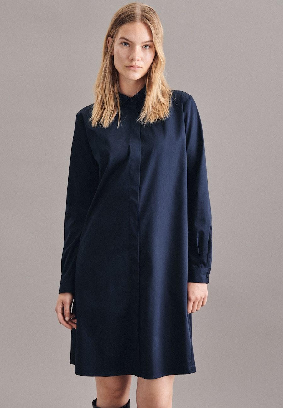 Satin Midi Dress made of cotton blend in Dark blue |  Seidensticker Onlineshop