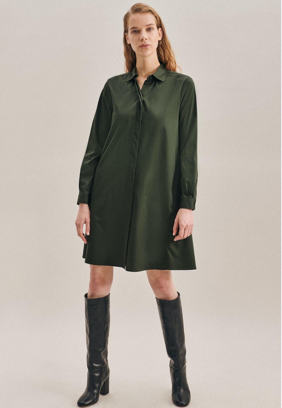 Satin Midi Kleid aus Baumwollmischung in Grün |  Seidensticker Onlineshop