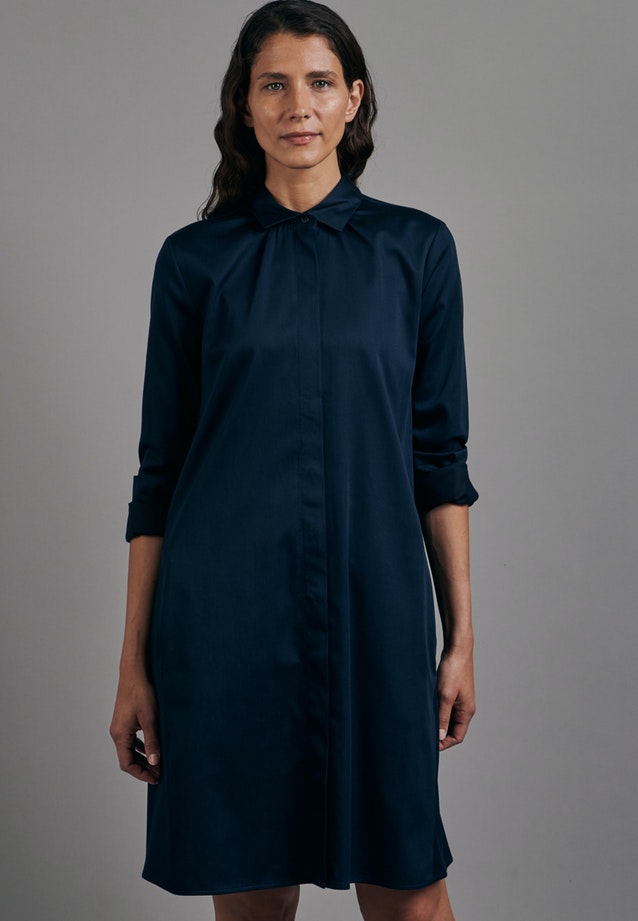 Satin Midi Dress made of cotton blend in Dark blue |  Seidensticker Onlineshop