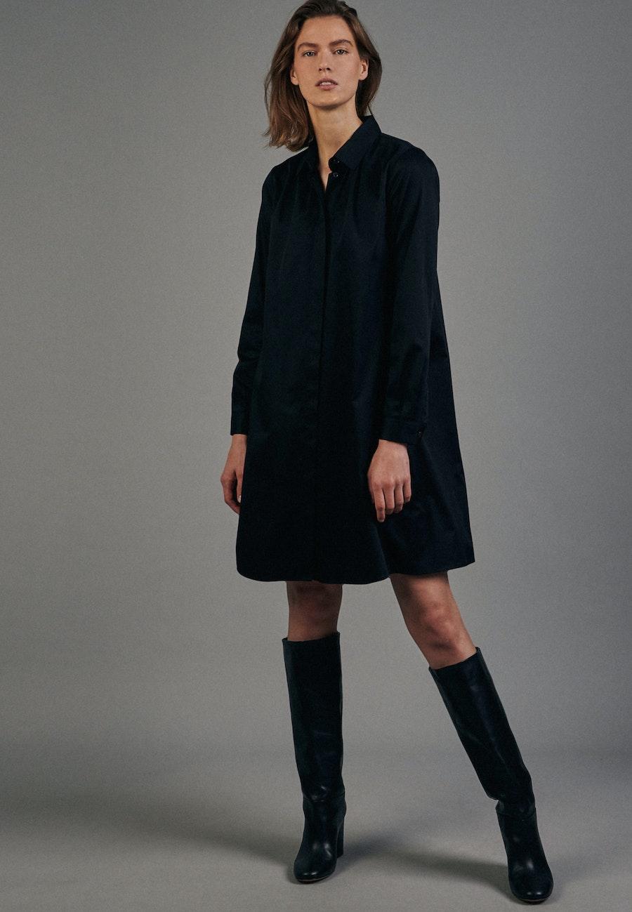 Satin Midi Kleid aus Baumwollmischung in Schwarz |  Seidensticker Onlineshop