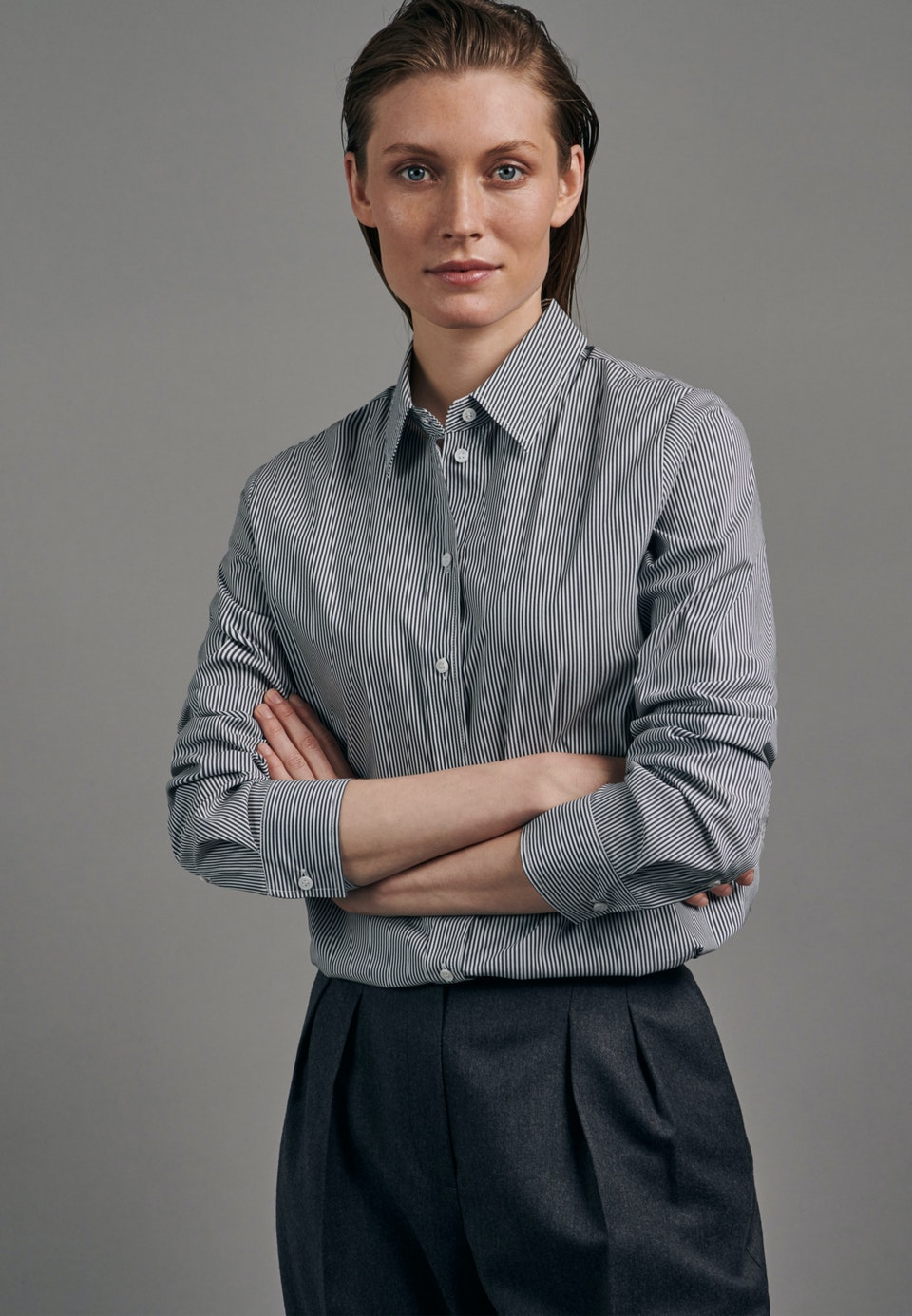 Poplin Shirt Blouse made of cotton blend in Dark blue |  Seidensticker Onlineshop