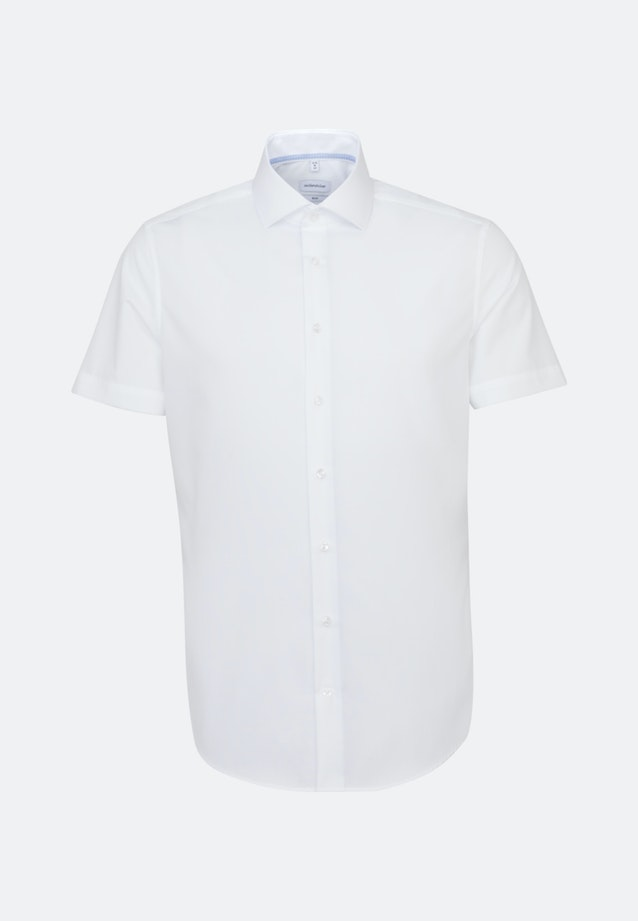 Non-iron Fil a fil Short sleeve Business Shirt in Slim with Kent-Collar in White |  Seidensticker Onlineshop
