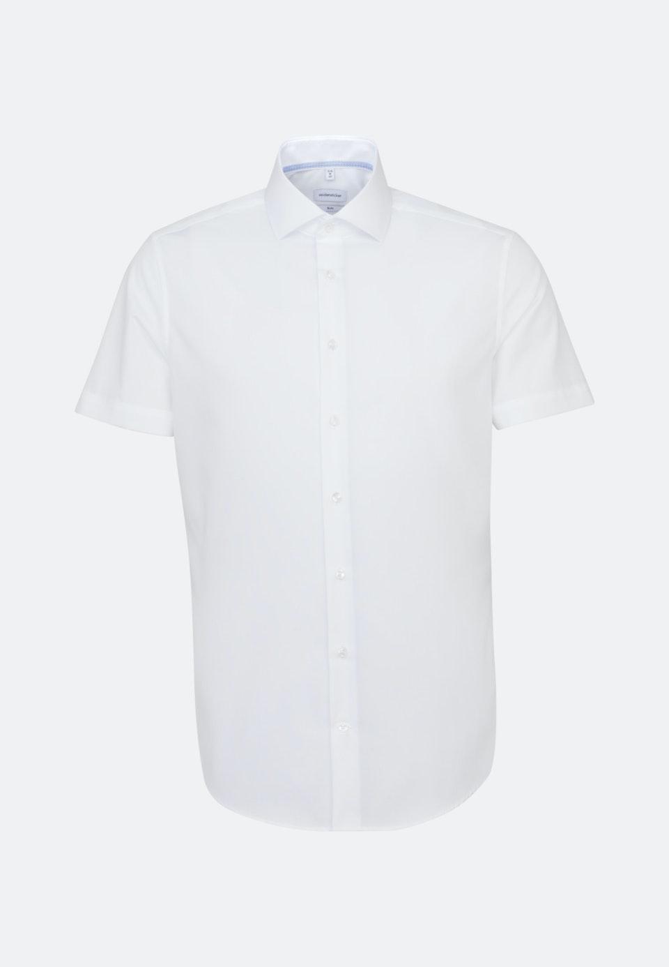 Bügelfreies Fil a fil Kurzarm Business Hemd in Slim mit Kentkragen in Weiß    Seidensticker Onlineshop