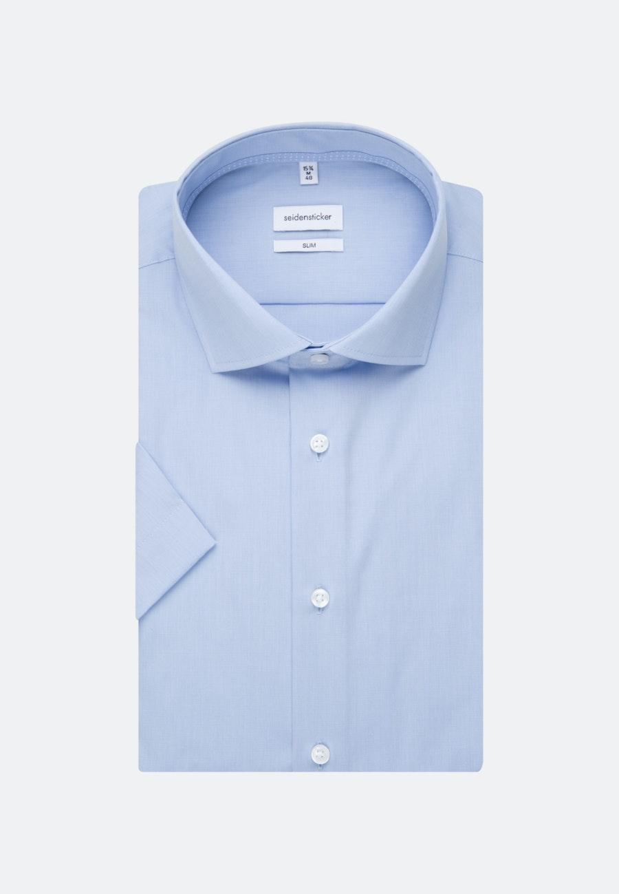 Bügelfreies Fil a fil Kurzarm Business Hemd in Slim mit Kentkragen in Hellblau |  Seidensticker Onlineshop