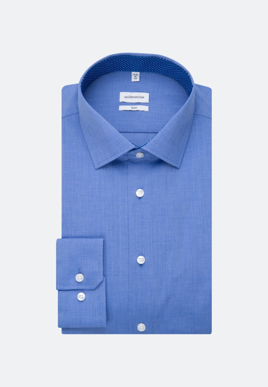 Bügelfreies Fil a fil Business Hemd in Slim mit Kentkragen in Mittelblau |  Seidensticker Onlineshop