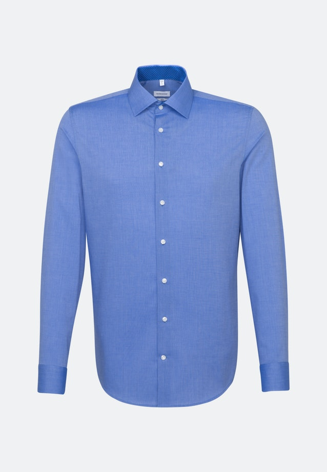 Non-iron Fil a fil Business Shirt in Slim with Kent-Collar in Medium blue    Seidensticker Onlineshop