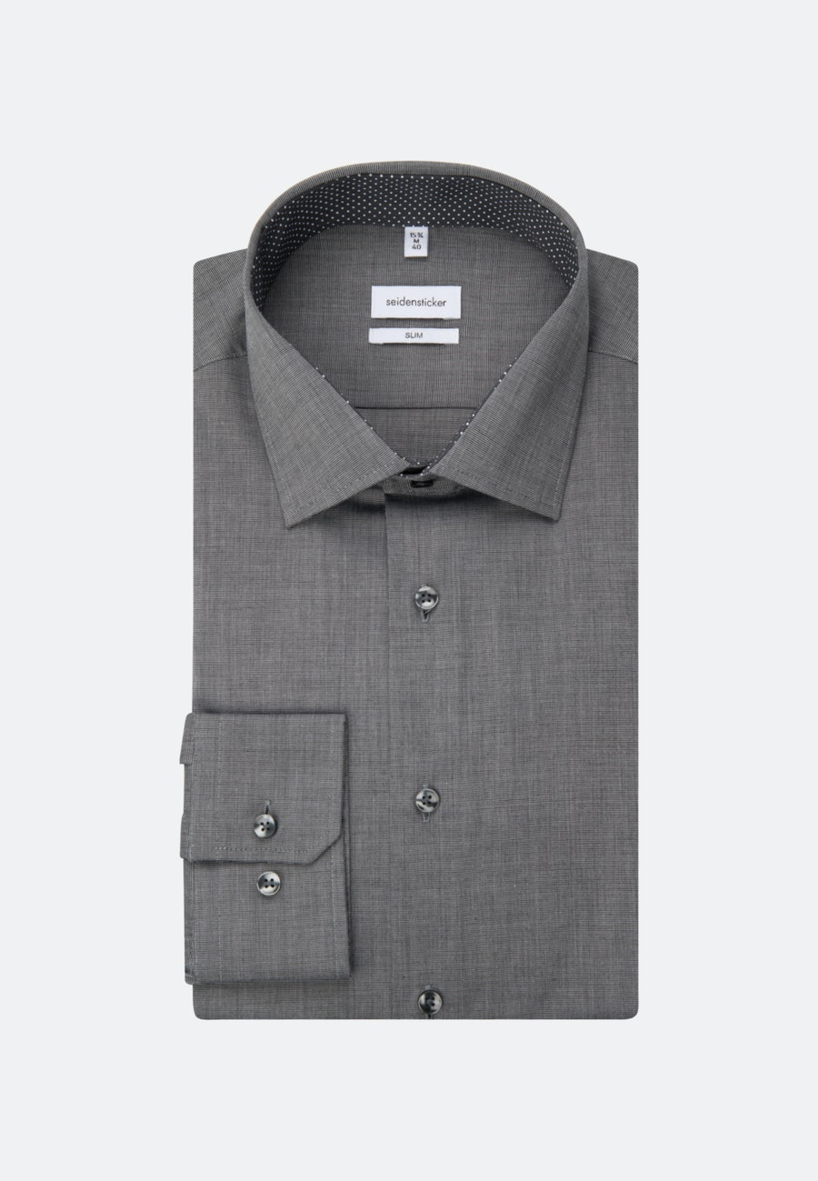 Bügelfreies Fil a fil Business Hemd in Slim mit Kentkragen in Dunkelgrau |  Seidensticker Onlineshop