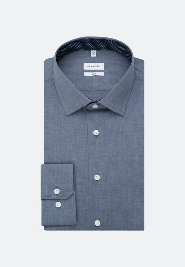 Non-iron Fil a fil Business Shirt in Slim with Kent-Collar in Dark blue |  Seidensticker Onlineshop