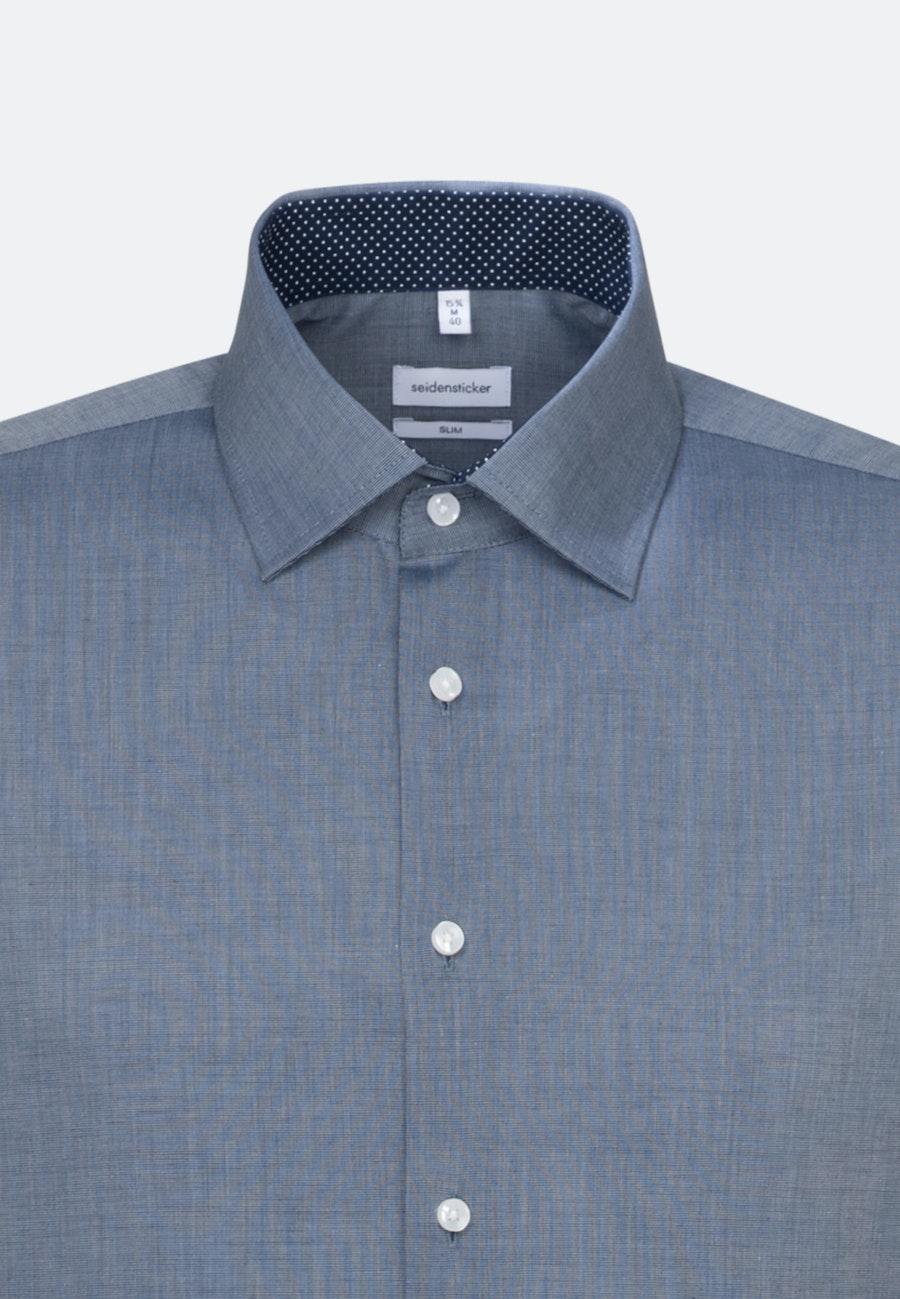 Bügelfreies Fil a fil Business Hemd in Slim mit Kentkragen in Dunkelblau    Seidensticker Onlineshop
