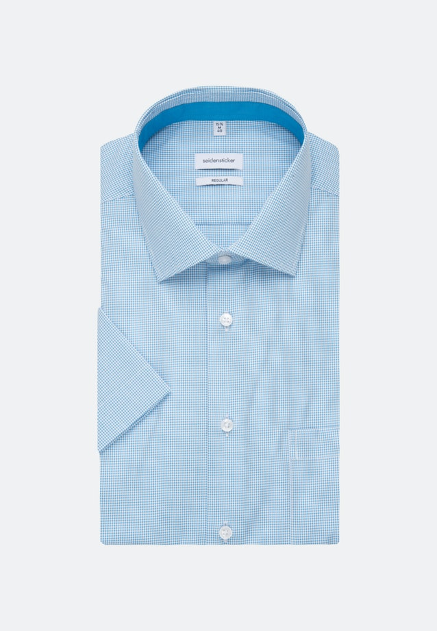 Non-iron Poplin Short sleeve Business Shirt in Regular with Kent-Collar in Turquoise |  Seidensticker Onlineshop