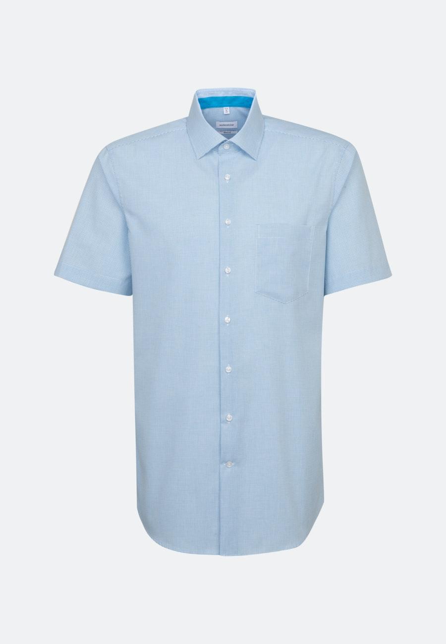 Bügelfreies Popeline Kurzarm Business Hemd in Regular mit Kentkragen in Türkis/Petrol |  Seidensticker Onlineshop