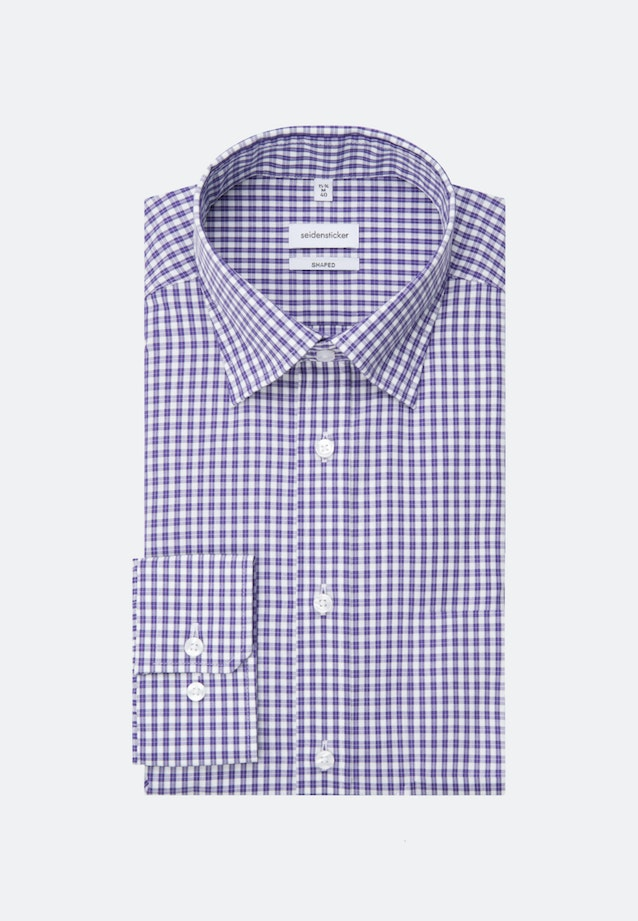 Non-iron Popeline Business Shirt in Shaped with Covered-Button-Down-Collar in Purple    Seidensticker Onlineshop