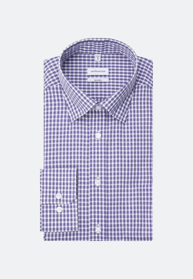 Bügelfreies Popeline Business Hemd in Shaped mit Covered-Button-Down-Kragen in Lila |  Seidensticker Onlineshop