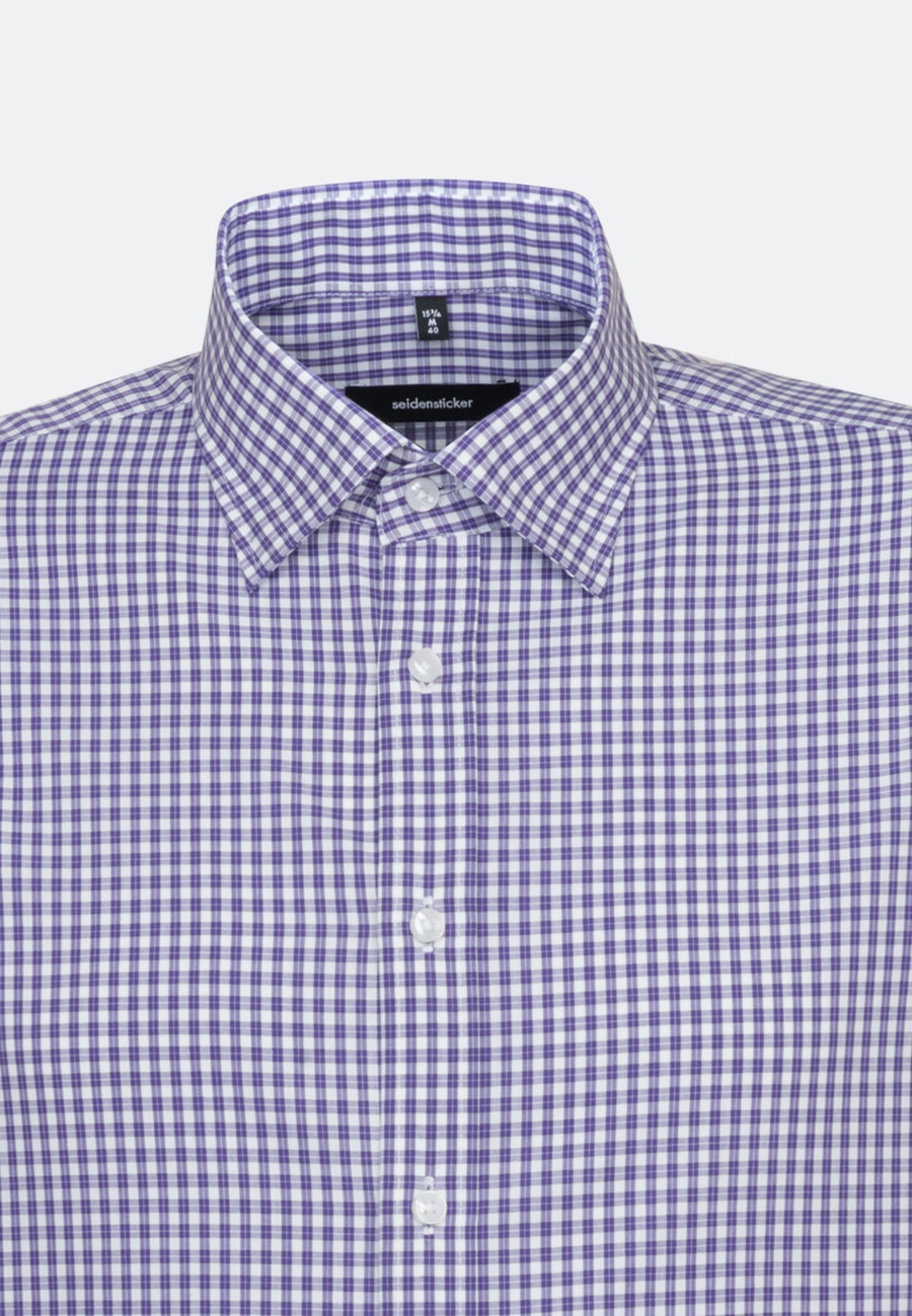 Non-iron Popeline Business Shirt in Shaped with Covered-Button-Down-Collar in Purple |  Seidensticker Onlineshop