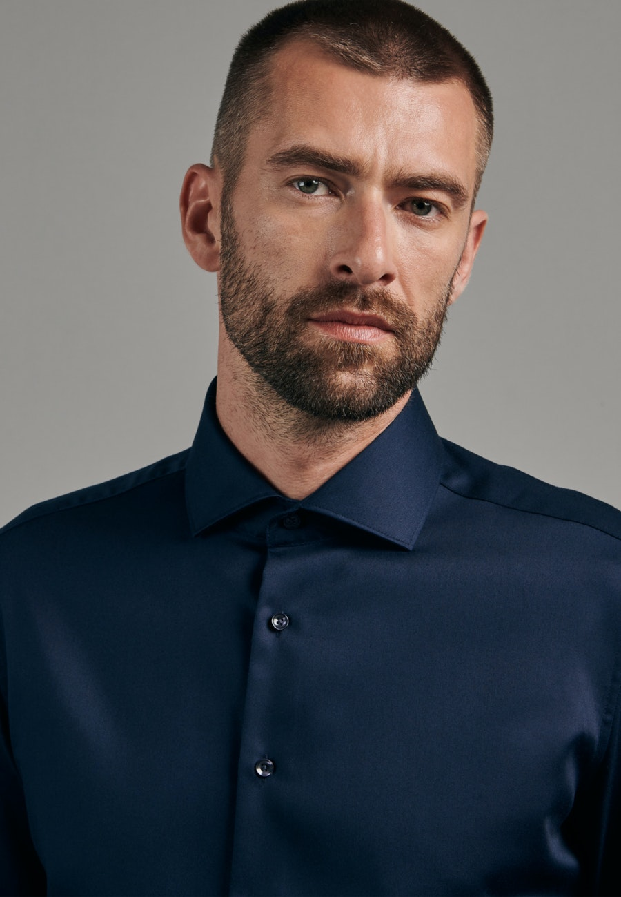 Non-iron Twill Business Shirt in Slim with Kent-Collar in Dark blue |  Seidensticker Onlineshop
