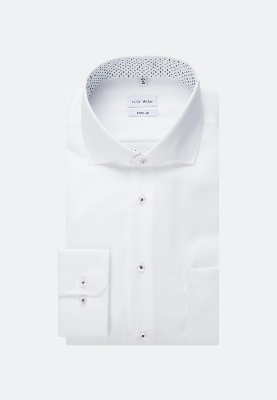 Non-iron Twill Business Shirt in Regular with Kent-Collar in White    Seidensticker Onlineshop