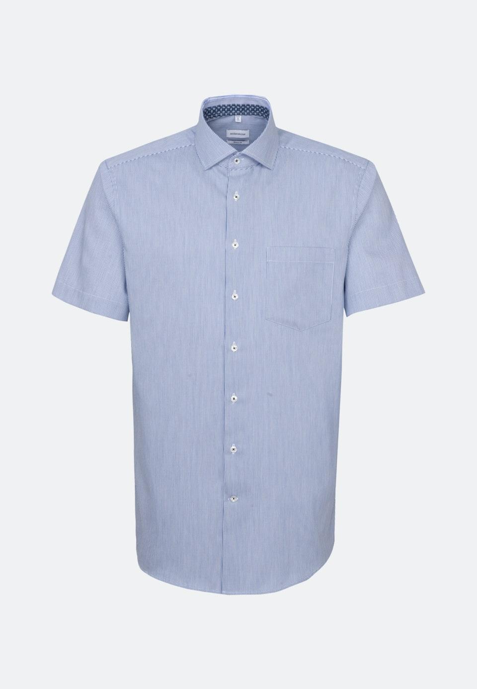 Easy-iron Twill Short sleeve Business Shirt in Regular with Kent-Collar in Medium blue |  Seidensticker Onlineshop