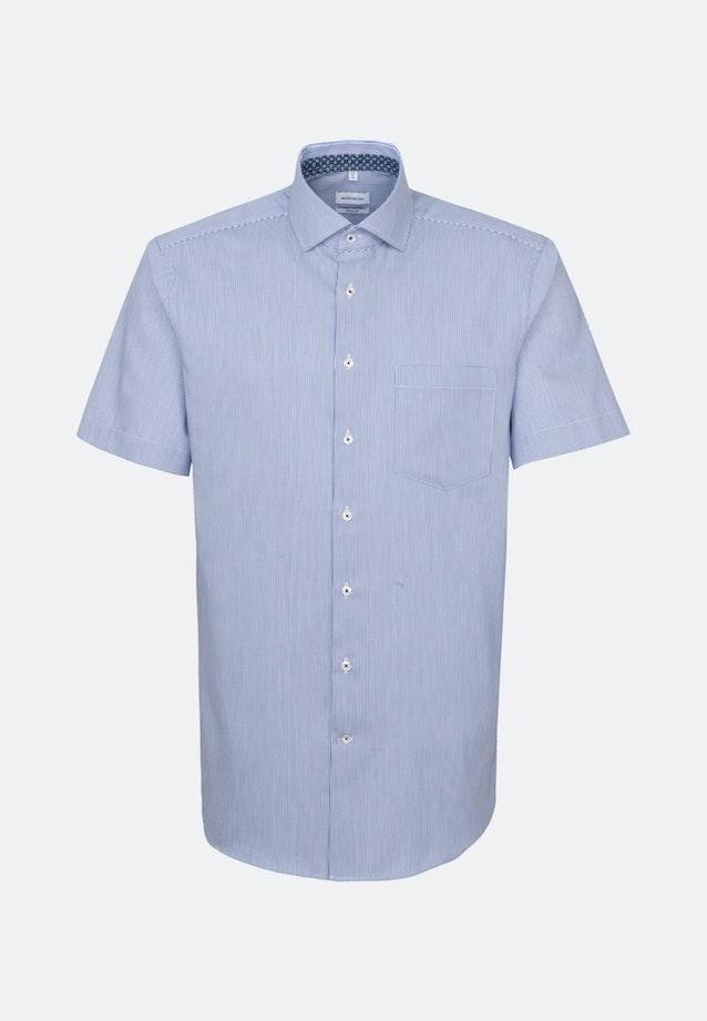 Bügelleichtes Twill Kurzarm Business Hemd in Regular mit Kentkragen in Mittelblau    Seidensticker Onlineshop