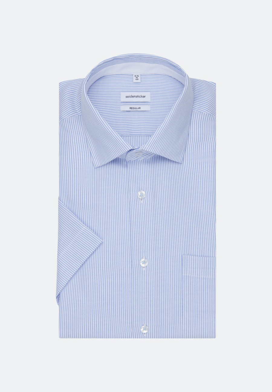 Non-iron Oxford Short sleeve Business Shirt in Regular with Kent-Collar in Light blue    Seidensticker Onlineshop