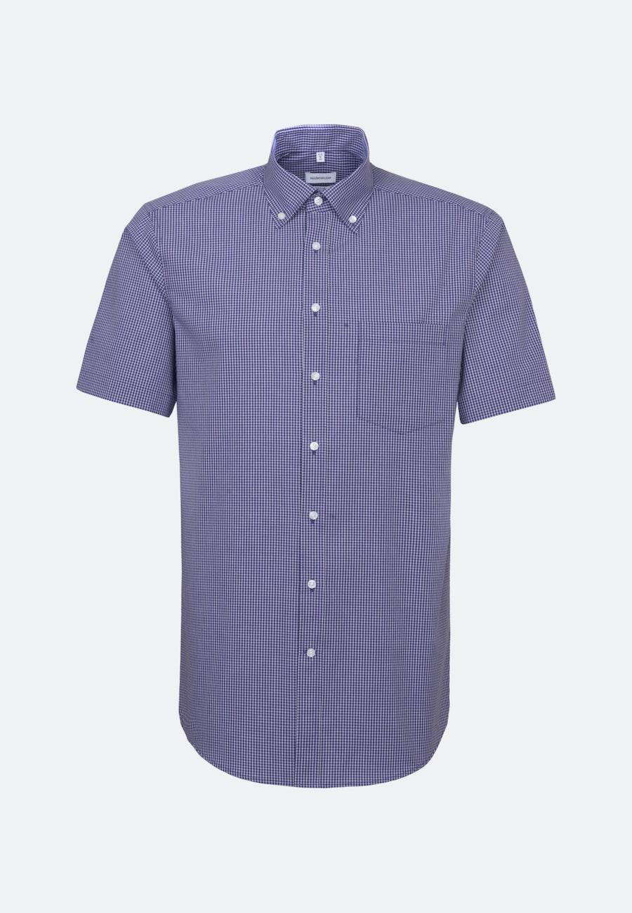 Non-iron Poplin Short sleeve Business Shirt in Regular with Button-Down-Collar in Purple |  Seidensticker Onlineshop