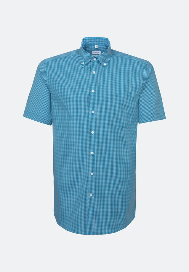 Non-iron Poplin Short sleeve Business Shirt in Regular with Button-Down-Collar in Turquoise |  Seidensticker Onlineshop