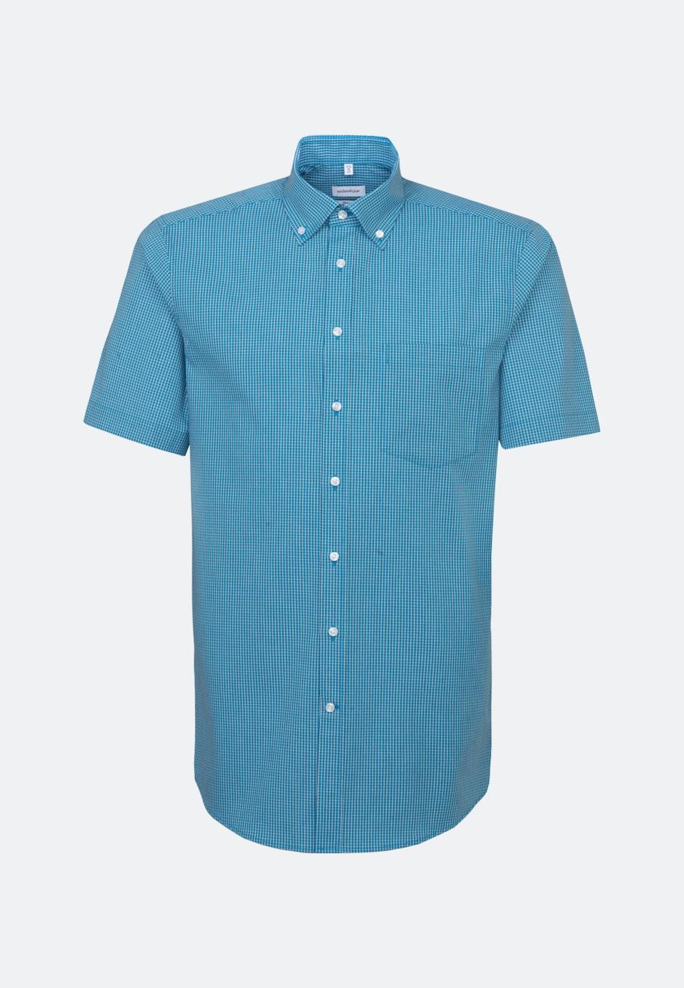 Non-iron Popeline Short sleeve Business Shirt in Regular with Button-Down-Collar in Turquoise |  Seidensticker Onlineshop