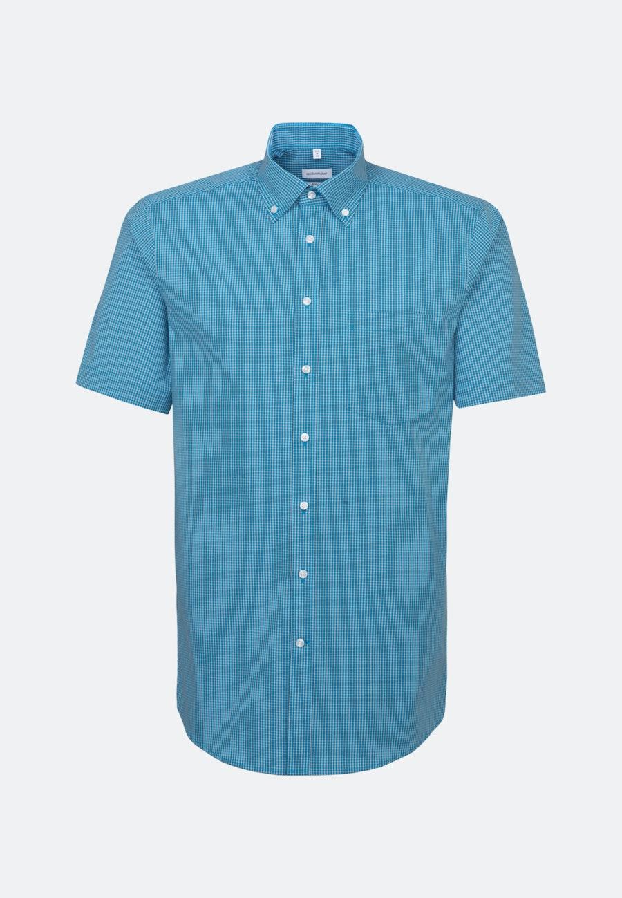 Bügelfreies Popeline Kurzarm Business Hemd in Regular mit Button-Down-Kragen in Türkis/Petrol    Seidensticker Onlineshop