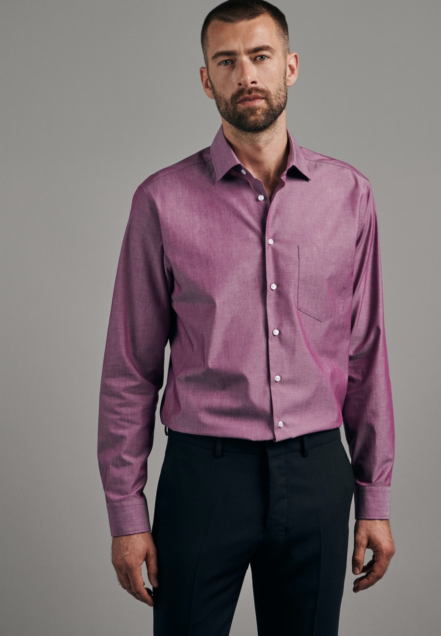 Bügelfreies Chambray Business Hemd in Regular mit Kentkragen in Rosa/Pink |  Seidensticker Onlineshop