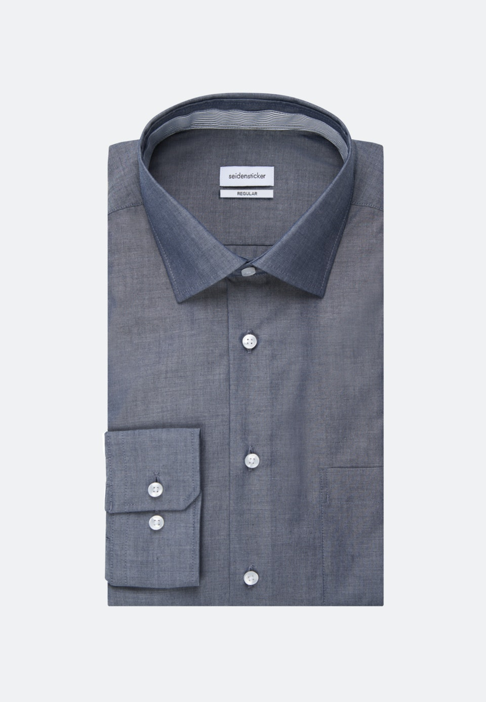 Bügelfreies Chambray Business Hemd in Regular mit Kentkragen in Dunkelblau    Seidensticker Onlineshop