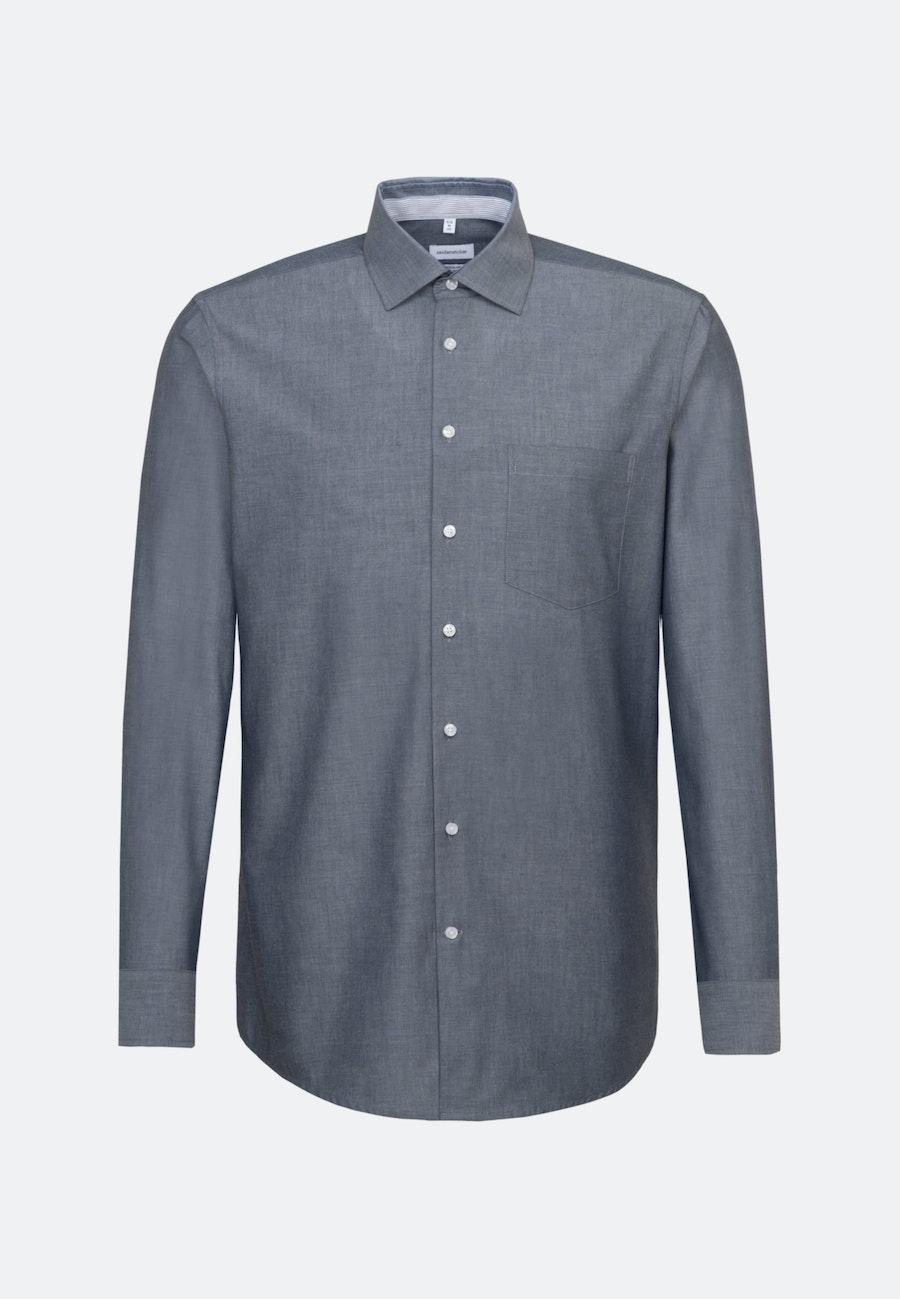 Non-iron Chambray Business Shirt in Regular with Kent-Collar in Dark blue |  Seidensticker Onlineshop