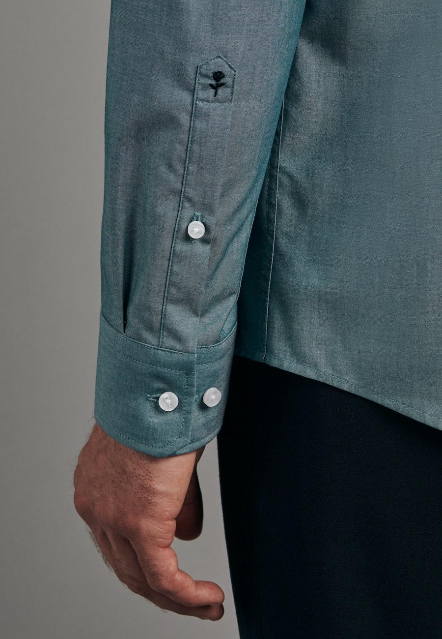 Non-iron Chambray Business Shirt in Regular with Kent-Collar in Green    Seidensticker Onlineshop