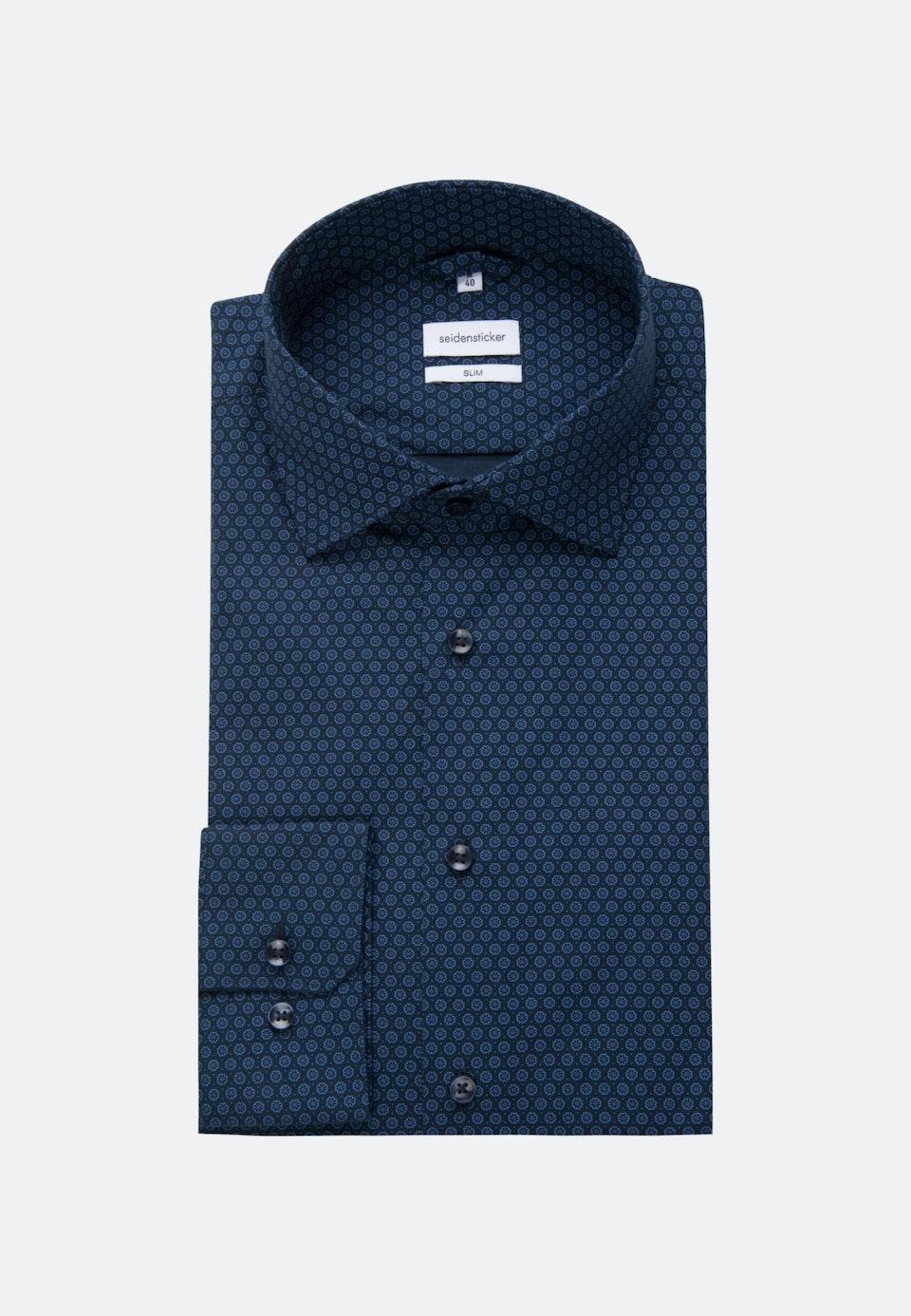 Easy-iron Poplin Business Shirt in Slim with Kent-Collar in Dark blue |  Seidensticker Onlineshop