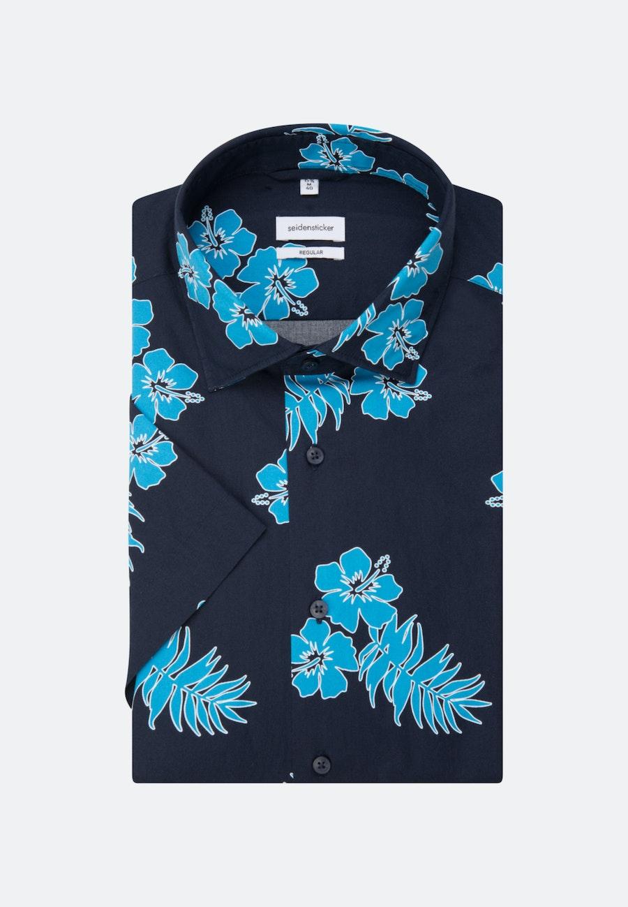 Bügelleichtes Popeline Kurzarm Business Hemd in Regular mit Kentkragen in Türkis/Petrol |  Seidensticker Onlineshop
