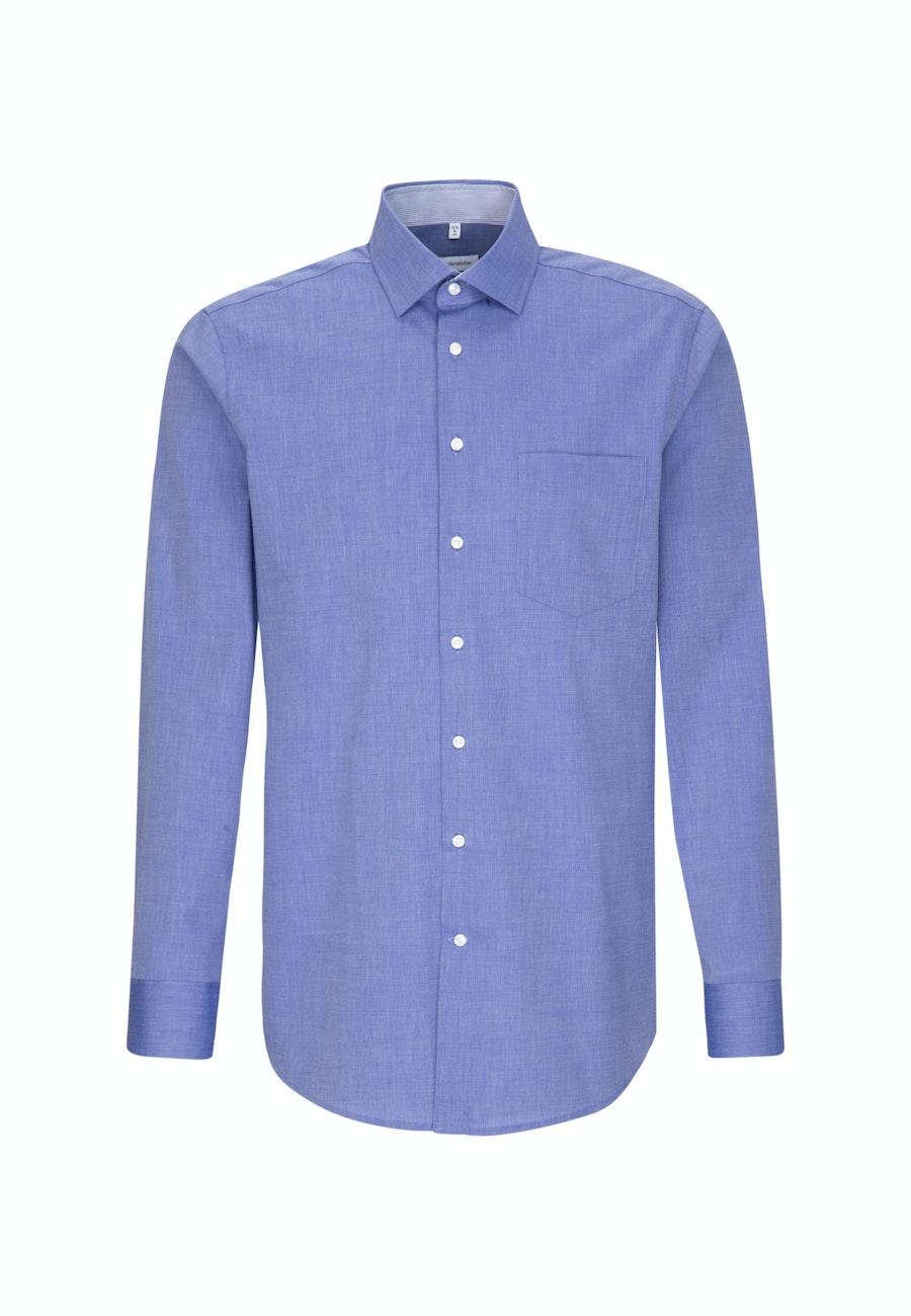 Bügelfreies Fil a fil Business Hemd in Regular mit Kentkragen in Mittelblau    Seidensticker Onlineshop