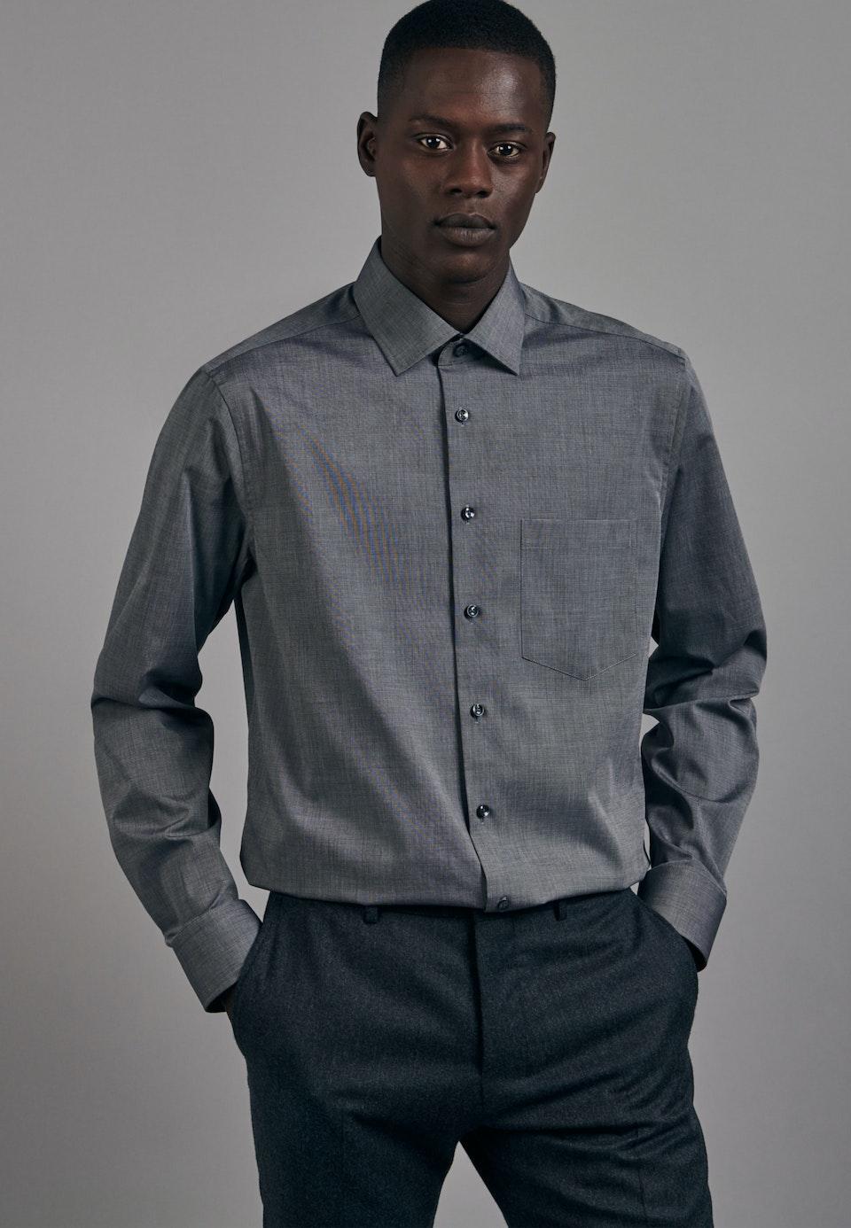Bügelfreies Fil a fil Business Hemd in Regular mit Kentkragen in Grau    Seidensticker Onlineshop