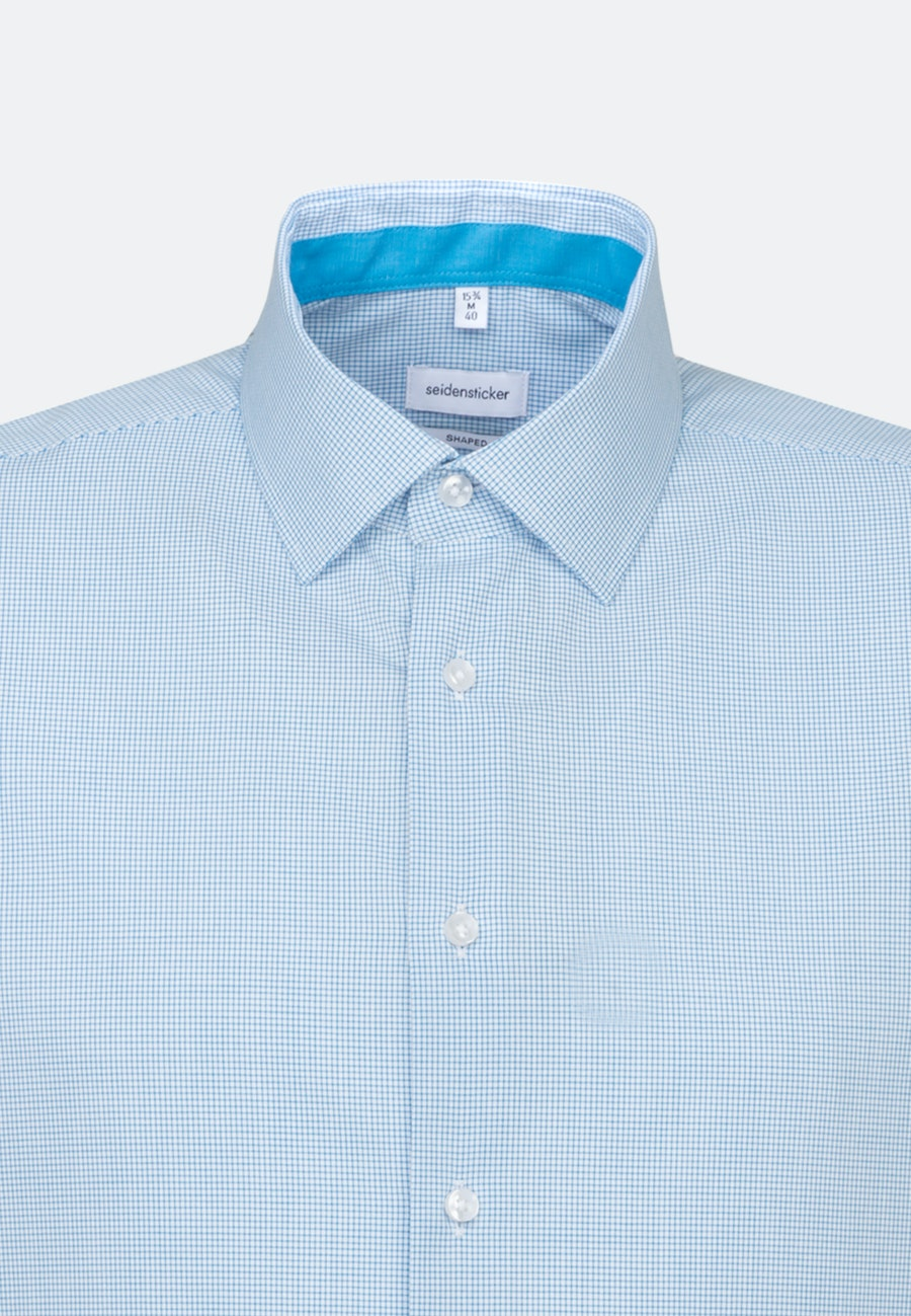 Non-iron Popeline Short sleeve Business Shirt in Shaped with Kent-Collar in Turquoise |  Seidensticker Onlineshop