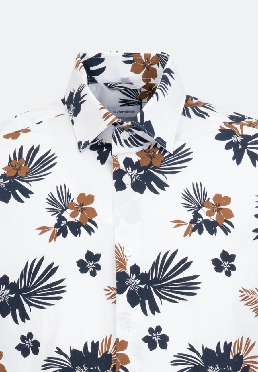Bügelleichtes Popeline Kurzarm Business Hemd in Regular mit Kentkragen in Weiß |  Seidensticker Onlineshop