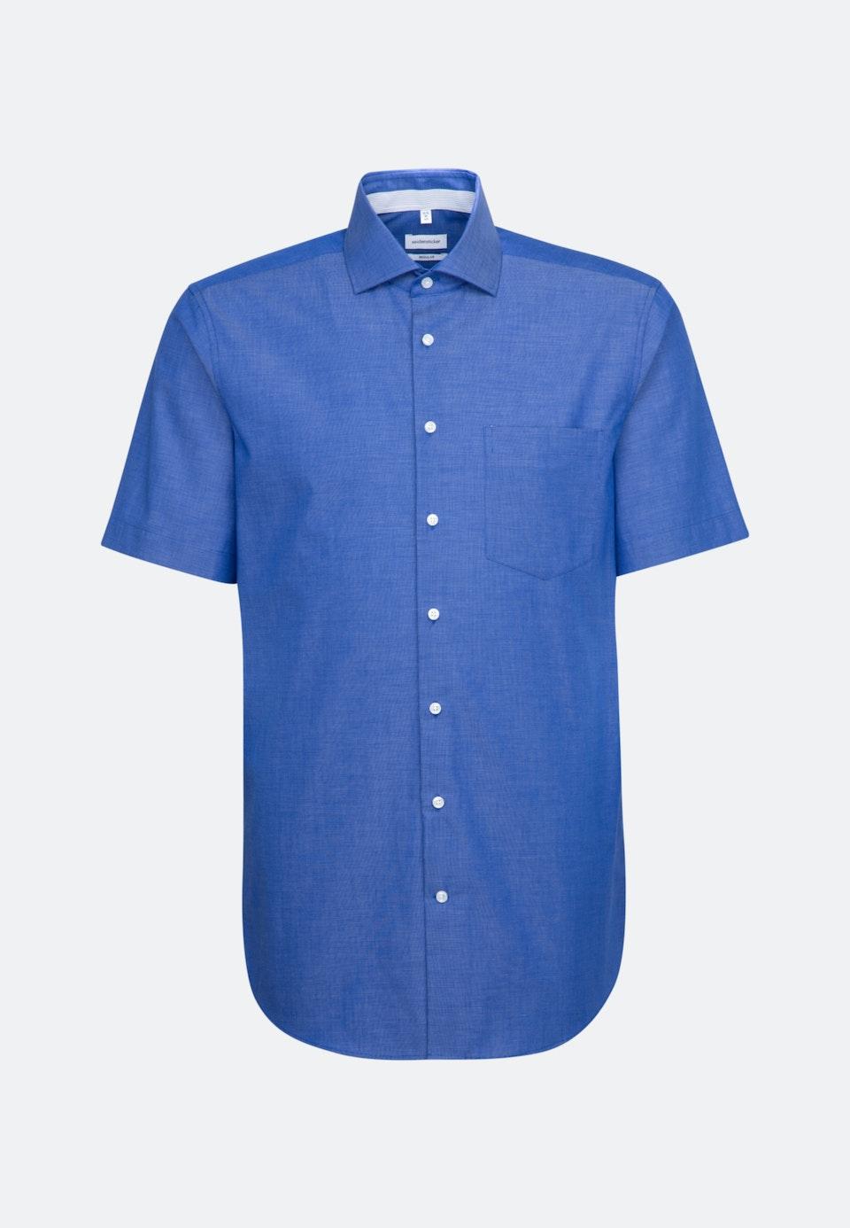 Bügelfreies Fil a fil Kurzarm Business Hemd in Regular mit Kentkragen in Mittelblau    Seidensticker Onlineshop