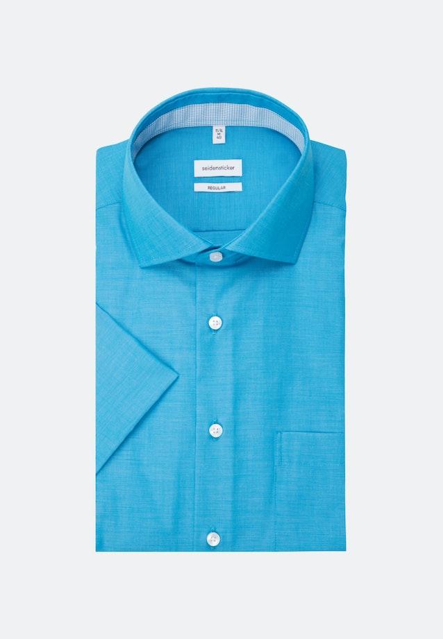 Bügelfreies Fil a fil Kurzarm Business Hemd in Regular mit Kentkragen in Türkis/Petrol |  Seidensticker Onlineshop
