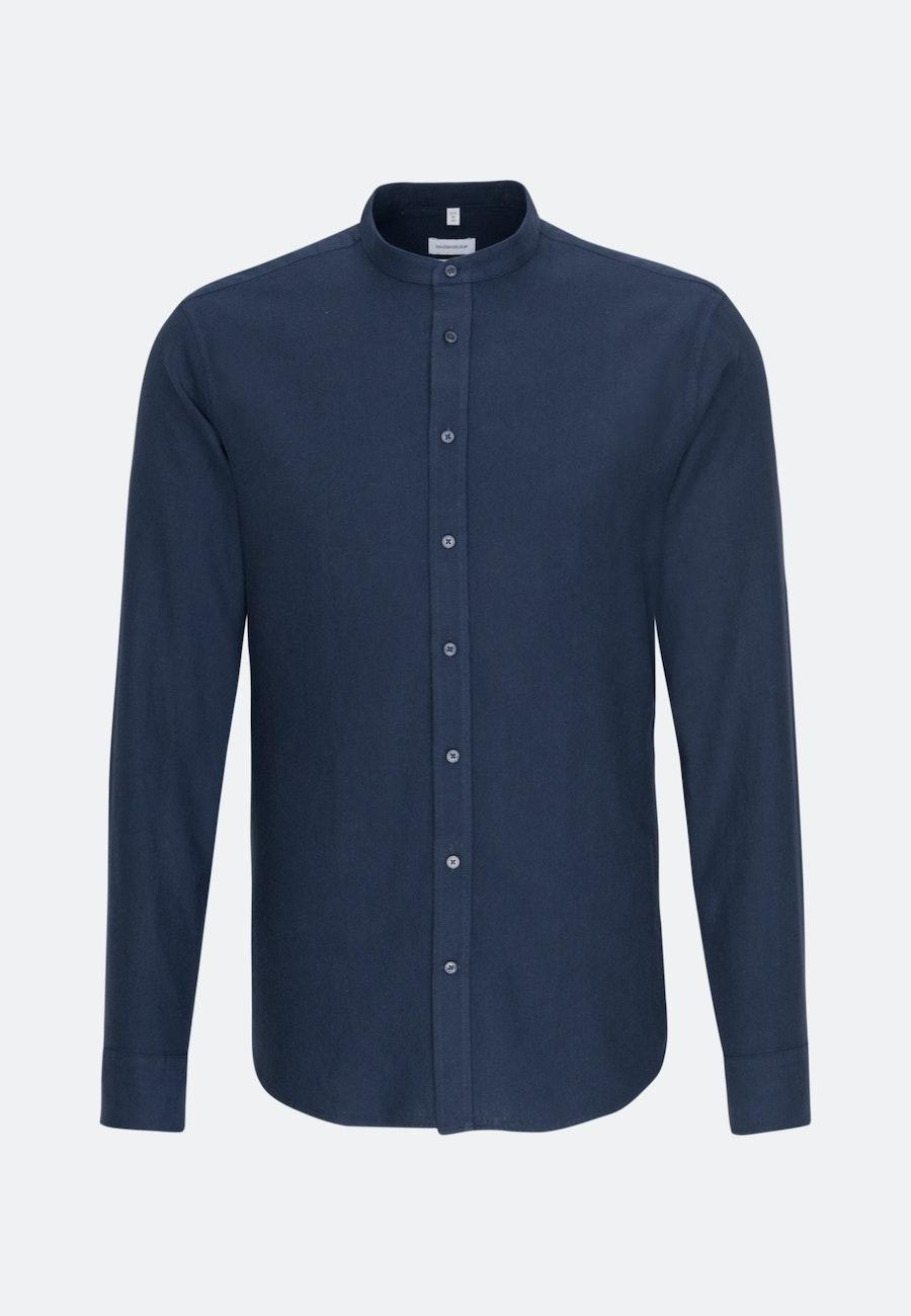 Bügelleichtes Twill Business Hemd in Regular mit Stehkragen in Dunkelblau    Seidensticker Onlineshop
