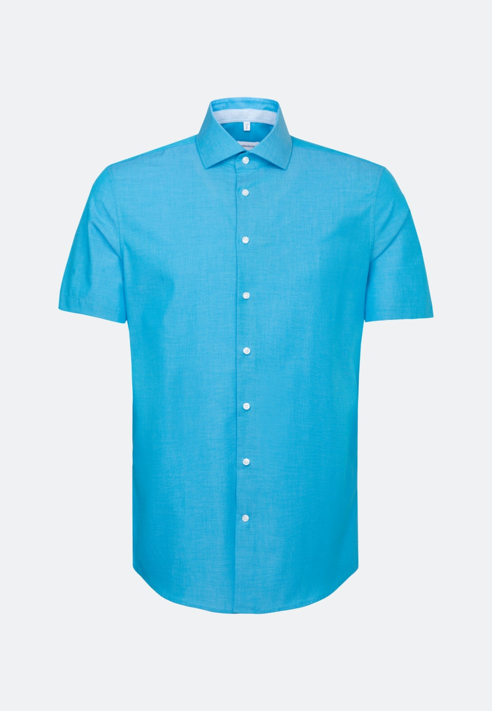 Non-iron Fil a fil Short sleeve Business Shirt in Shaped with Kent-Collar in Turquoise |  Seidensticker Onlineshop