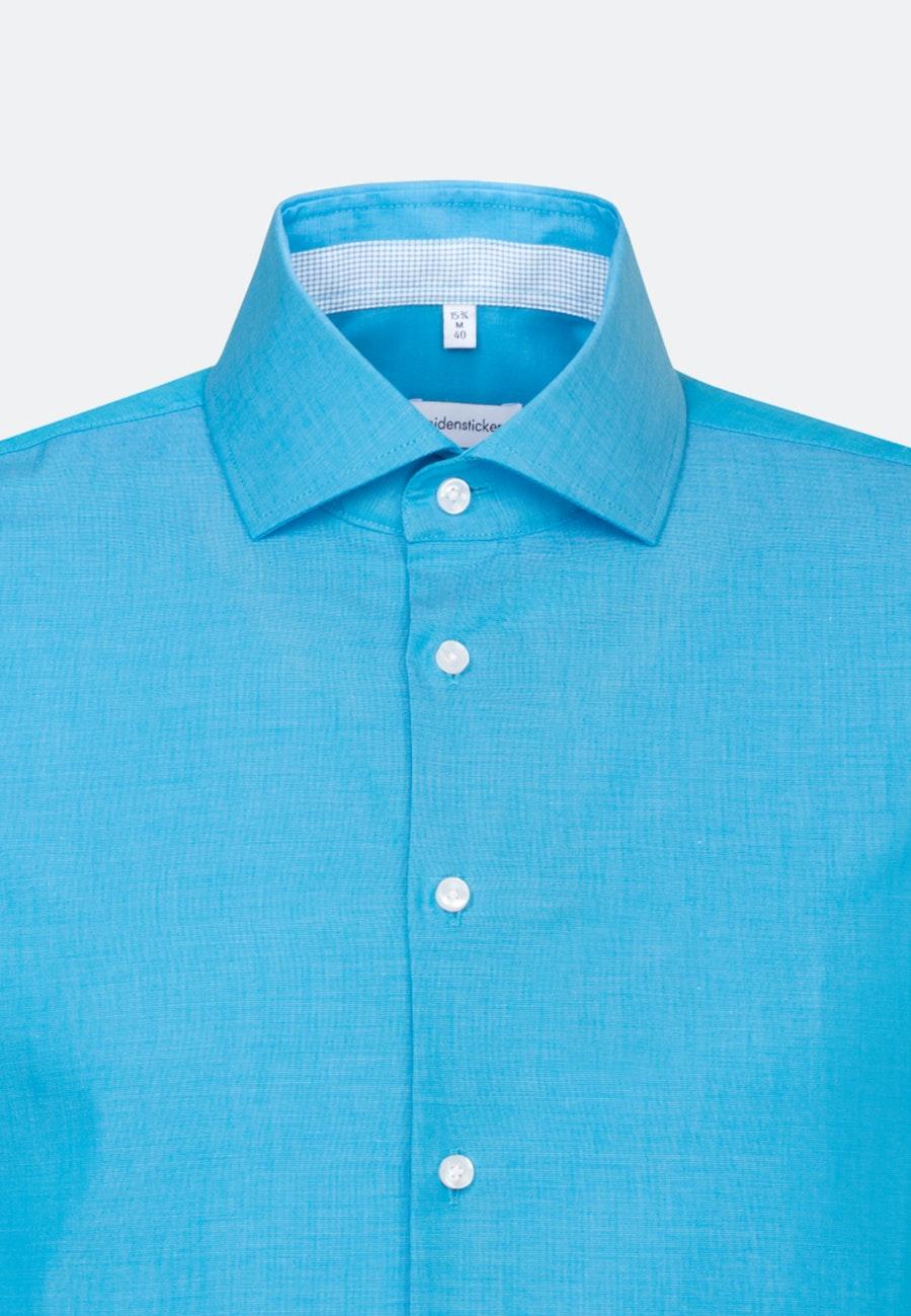 Bügelfreies Fil a fil Kurzarm Business Hemd in Shaped mit Kentkragen in Türkis/Petrol    Seidensticker Onlineshop