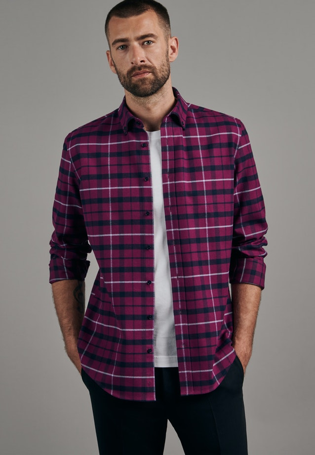 Flanell Business Hemd in Slim mit Button-Down-Kragen in Rosa/Pink |  Seidensticker Onlineshop